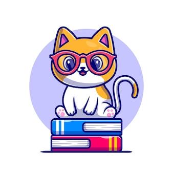 ブックスタック漫画アイコンイラストに座っているかわいい猫。分離された動物教育アイコン。フラット漫画スタイル