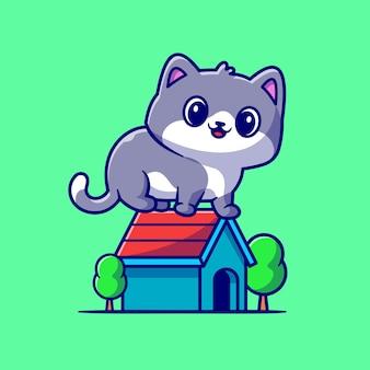 家の漫画のベクトルアイコンイラストに座っているかわいい猫。動物の建物のアイコンの概念は、プレミアムベクトルを分離しました。フラット漫画スタイル