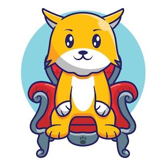 Милый кот сидит на тронном кресле короля мультяшный дизайн