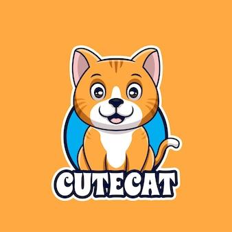 귀여운 고양이 앉아 애완 동물 관리가 게 만화 크리에이 티브 로고 디자인