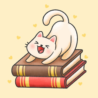 Cute cat sitting on a pile of books cartoon hand drawn style