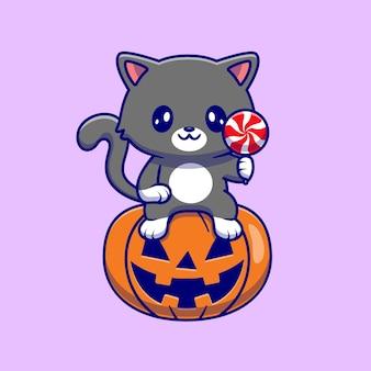 Simpatico gatto seduto sulla zucca di halloween