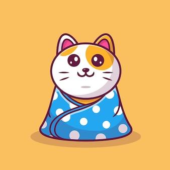 Милый кот сидит носить одеяло мультфильм значок иллюстрации. концепция животных значок изолированы. плоский мультяшном стиле