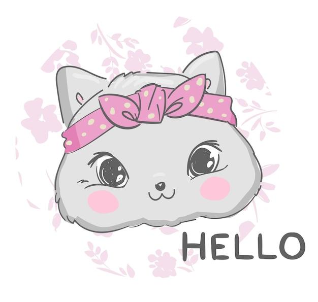 Милая кошка эскиз иллюстрация