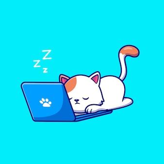 眠ってラップトップ漫画ベクトルアイコンイラストに取り組んでいるかわいい猫。