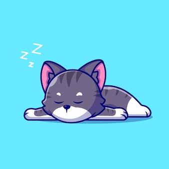Cute cat sleeping cartoon icon illustration.