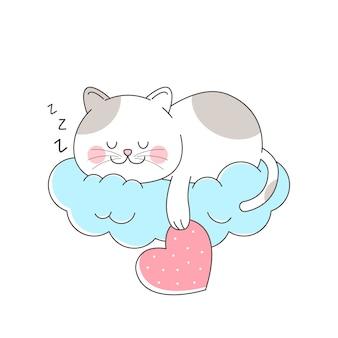 Cute cat sleeping in the cloud hanging love