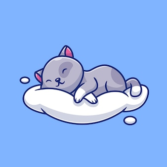 Cute cat sleeping on the cloud   icon illustration. animal love icon concept   .
