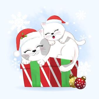 Cute cat sleeping on the gift box christmas season illustration