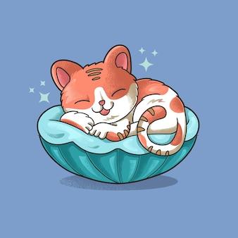 Cute cat sleeping grunge style illustration vector