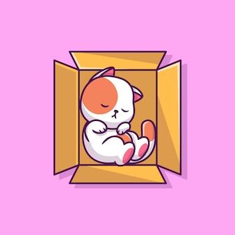 Милый кот спит в коробке мультфильм значок иллюстрации. концепция животных значок изолированы. плоский мультяшный стиль