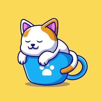 カップコーヒー漫画イラストで眠っているかわいい猫。分離された動物飲料の概念。フラット漫画スタイル