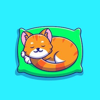 베개 만화 아이콘 그림에 잠자는 귀여운 고양이.