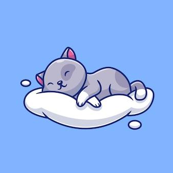 クラウドアイコンイラストで眠っているかわいい猫。動物愛アイコンコンセプト。