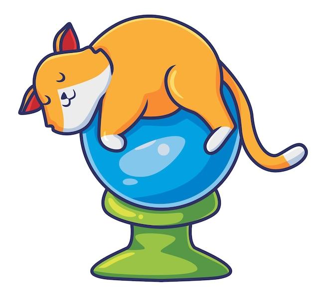 마법의 공 만화 동물 할로윈 이벤트 개념 격리 된 그림에서 자 고 귀여운 고양이