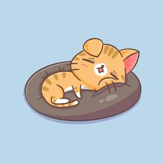 枕漫画イラストで眠っているかわいい猫