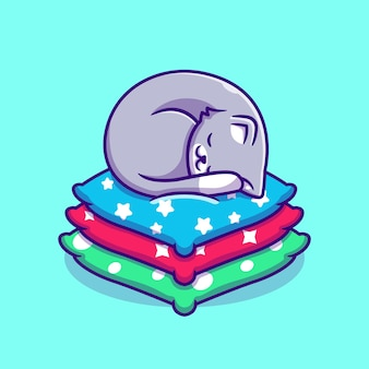 Cute cat sleeping on pillow cartoon. flat cartoon style