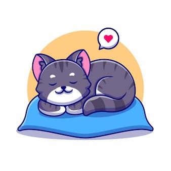 Cute cat sleeping on pillow cartoon icon illustration.