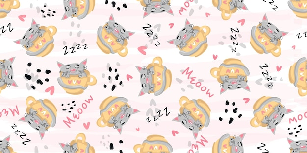 Cute cat sleeping seamless pattern print.