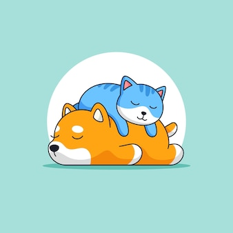 Cute cat sleeping on top of dog back animal activity outline illustration