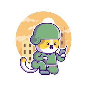 Милый кот солдат армии иллюстрации шаржа