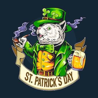 Милый кот день святого патрика держит стакан пива.