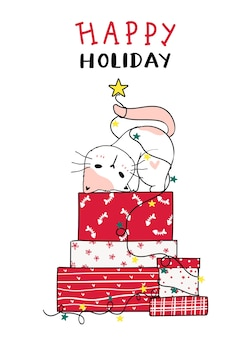 Cute cat on stack of christmas red present box doodle cartoon clip art, happy holiday, greeting card.