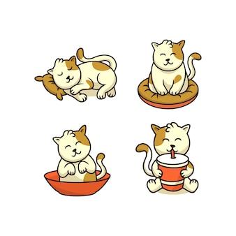 Cute cat sticker doing sleeping sitting vector ilustration