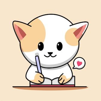 Cute cat studying cartoon illustration