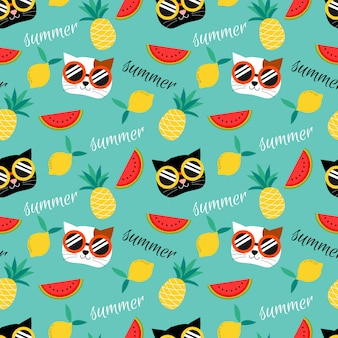 Cute cat and summer fruit seamless pattern.