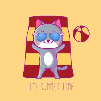 Cute cat in summer time vector illustration