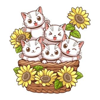 Cute cat and sunflower cartoon vector illustration