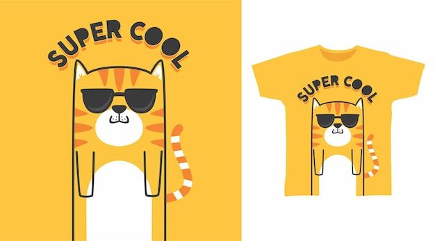 Cute cat super cool tshirt design