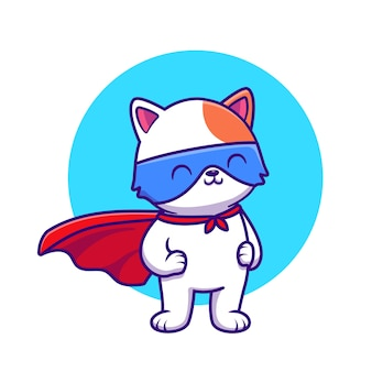 Cute cat super hero cartoon illustrazione. concetto di eroe animale isolato fumetto piatto