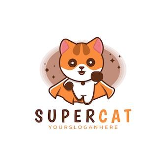 Шаблон логотипа милый кот супергерой
