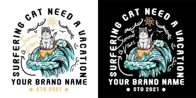 Cute cat surfing illustration for tshirt Premium Vector