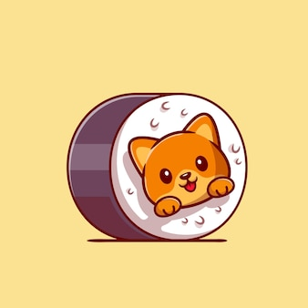 Cute cat sushi cartoon icon illustration.