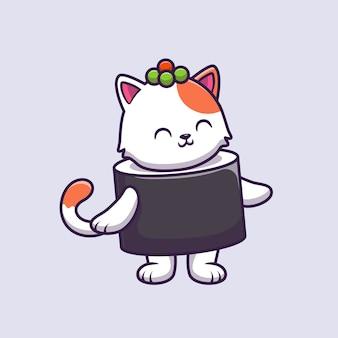 Illustrazione sveglia di vettore del fumetto del salmone dei sushi del gatto.