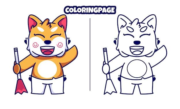 색칠 공부 페이지를 쓸고 있는 귀여운 고양이