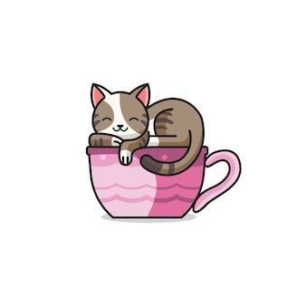 Cute cat and tea