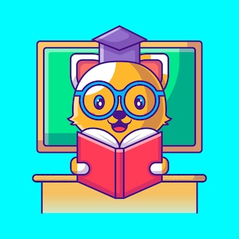 책 만화 그림을 읽고 귀여운 고양이 교사. 동물 및 교육 평면 만화 스타일 개념