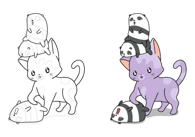 Cute cat and tiny panda characters cartoon easily coloring page for kids