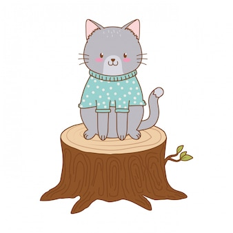 Cute cat in trunk woodland character