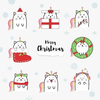 Cute cat unicorn cartoon collection set for christmas