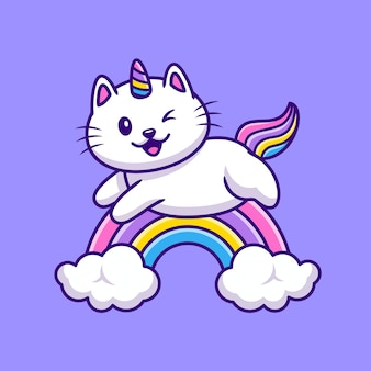 Cute cat unicorn flying cartoon illustration. animal wildlife icon concept