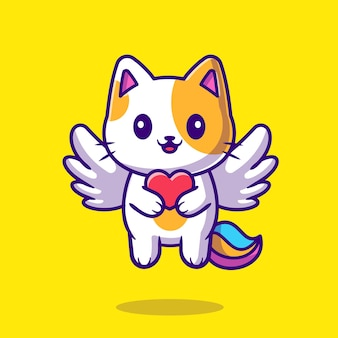 Cute cat unicorn holding heart cartoon icon illustration.