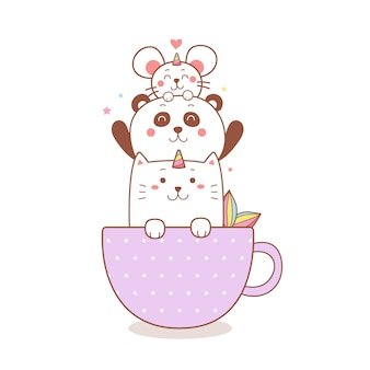 Милый кот-единорог, панда и мультяшная крыса в чашке.
