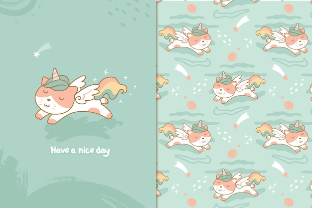 Cute cat unicorn pattern Premium Vector