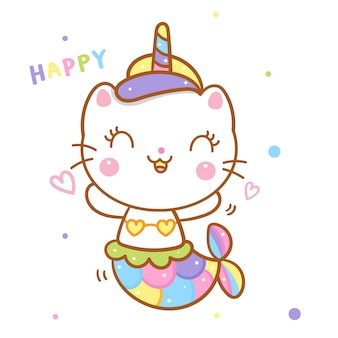 Cute cat unicorn say mermaid cartoon happy emotion