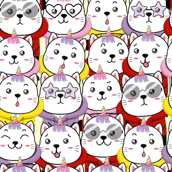 Cute cat unicorn seamless pattern cartoon